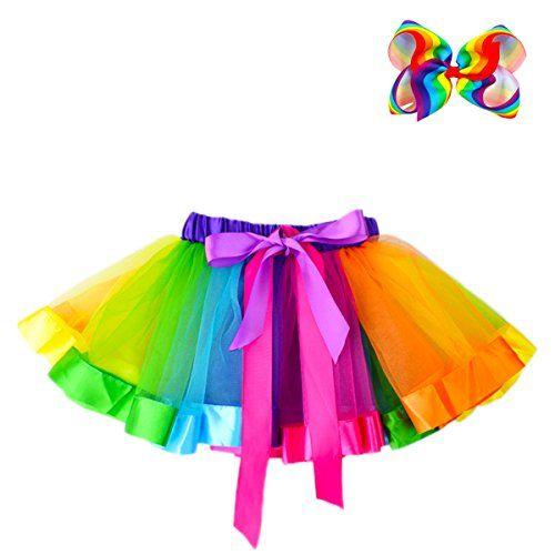 JiaDuo Girls Layered Rainbow Tutu Skirt Bow Dance Ruffle