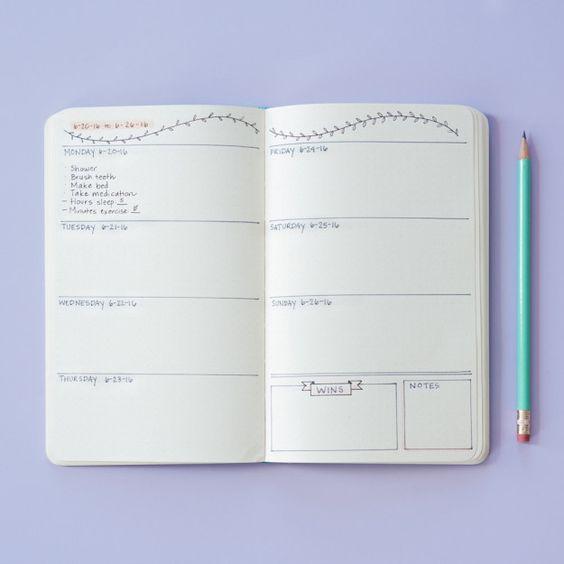 Aqui está outra opção semanal: | Como monitorar sua saúde mental em um diário em tópicos:
