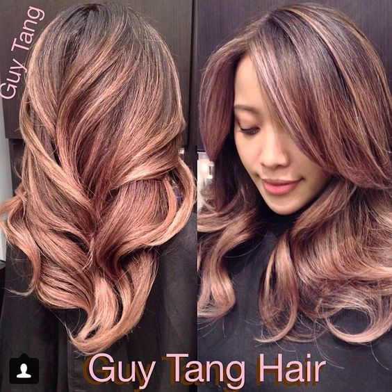 Antique rose gold ombre