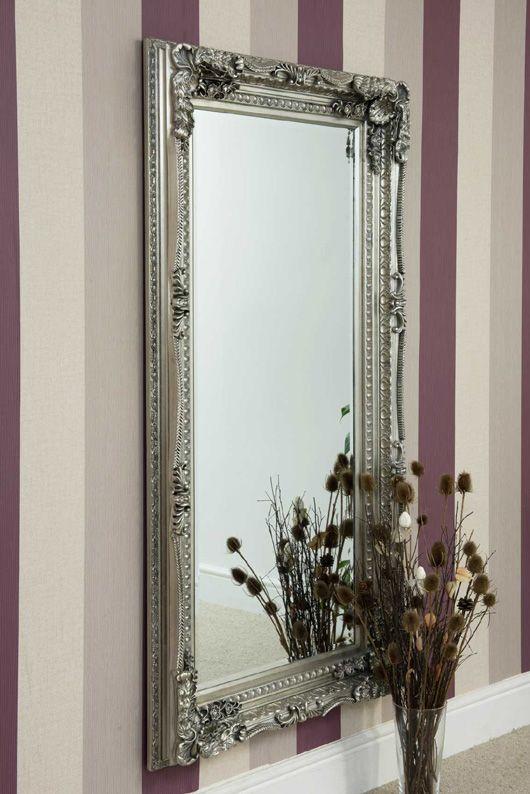 Ornate Shabby Chic Style Framed Mirror In Silver 175x90cm Framed Mirror Wall Antique Mirror Black Mirror Frame