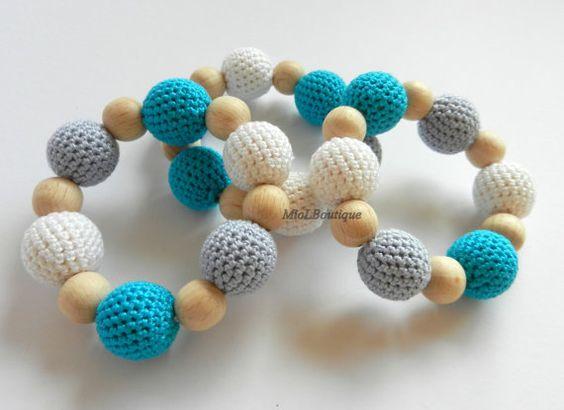Bébé anneau de dentition jouets en bois bois Crochet jouet de dentition Crochet dentition Gift pour bébés blanc gris Turquoise