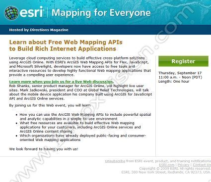 Company:  Environmental Systems Research Inst. Subject:  Free Webinar on ESRI Web Mapping API Resources              INBOXVISION is a global database and email gallery of 1.5 million B2C and B2B promotional emails and newsletter templates, providing email design ideas and email marketing intelligence.  http://www.inboxvision.com/blog  #EmailMarketing #DigitalMarketing #EmailDesign #EmailTemplate #InboxVision