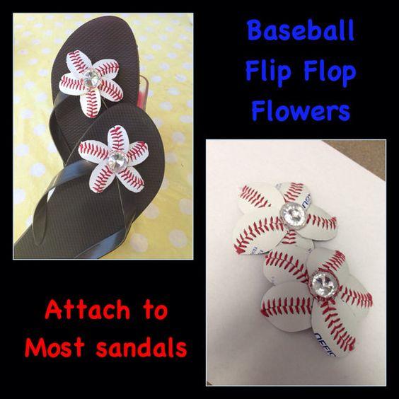 Baseball Flip Flop Sandal Flowers Baseball by