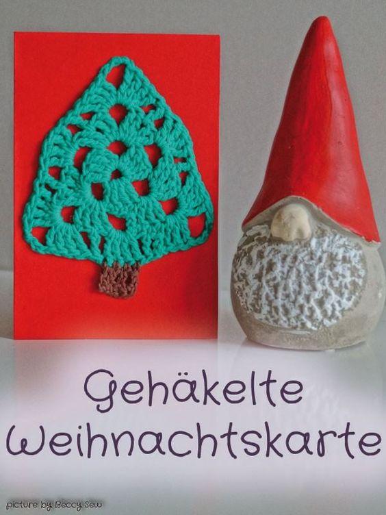 Weihnachtskarte mit Häkel-Baum