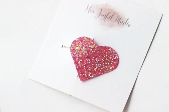 Sugar Pink Glitter Heart Clip