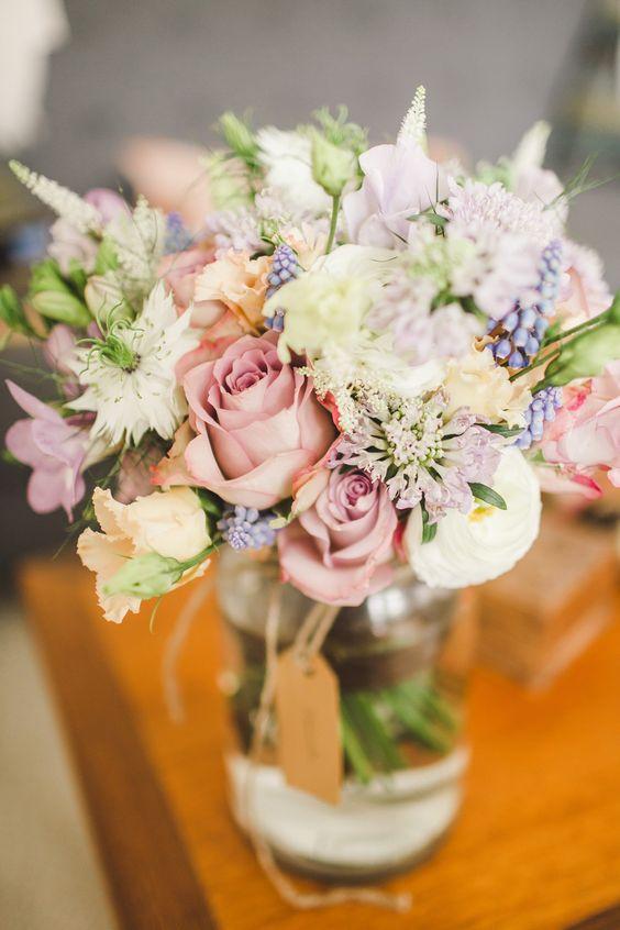Pastel Flowers in Jam Jars | Bride in Jesus Peiro Bridal Gown | Intimate Wedding | The Asylum in London | Candles, Festoon Lights & DIY Decor | Pastel Bridal Bouquet | Images by Frances Sales Photography | http://www.rockmywedding.co.uk/hannah-evan/