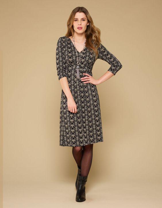 Cleo Print Dress | Black | Monsoon