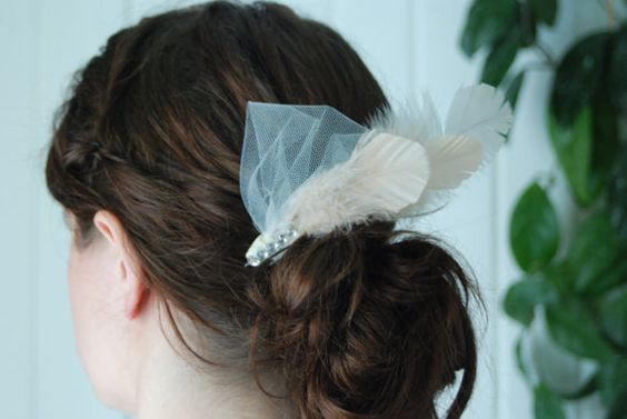 Bridal Feather Facinator with Rhinestones and by AModestBitOfFlair