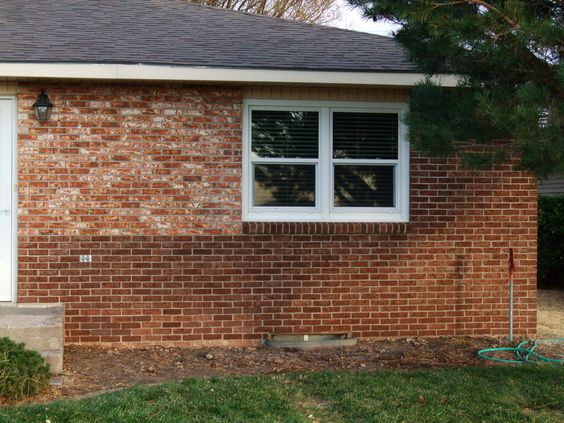 I used brick stain to update our old yellow brick. | My House ...