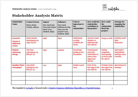 Stakeholder Analysis Graph | Stakeholder Analysis | Pinterest