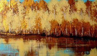 """""""Golden autumn"""" (2016), acrylverf op canvas 120x40cm - Geïnspireerd door de natuur - De website van artstudio-valentina!"""