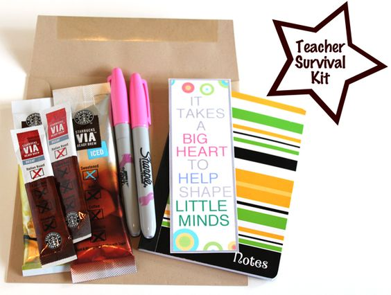 DIY Teacher Survival Kit for first day of school (or whenever you feel like making a teacher's dayP