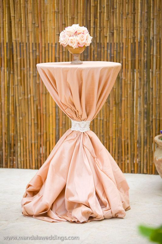 Tablecloths blush and cocktails on pinterest for Wedding cocktail tables decorations