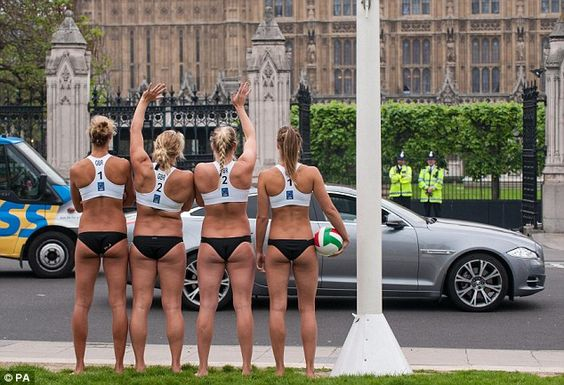 Britain's Olympic Volleyball Players Stopping traffic