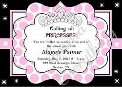 Polka Princess Birthday Party Invitation