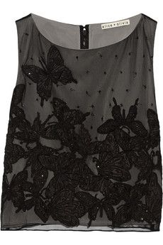 Alice   Olivia Anna embellished tulle cropped top | THE OUTNET