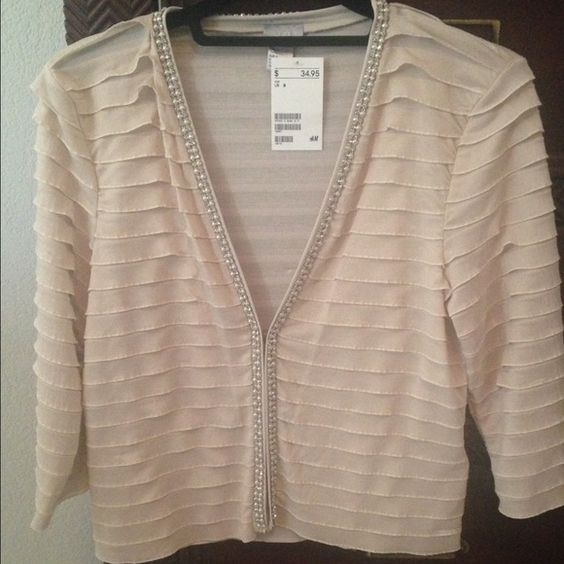 Adorable beige/pale peach H&M girly bling cardigan H&M pale beige/peach jeweled layered cardigan/coverup. Super cute with a white tank and jeans or over a pretty LBD! Dress up or down! Adorable! NWT - see last pic, tiny snag - barely visible. H&M Sweaters Cardigans