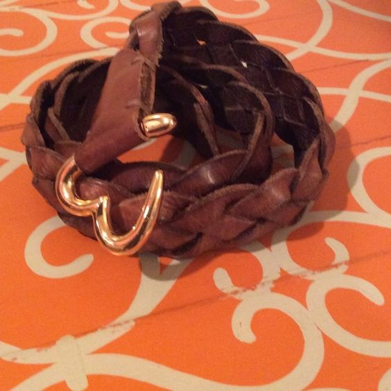 """Talula Genuine Braided Leather Belt Braided belt with open heart clasp. Measures 41"""" long. In great condition! Talula Accessories Belts"""