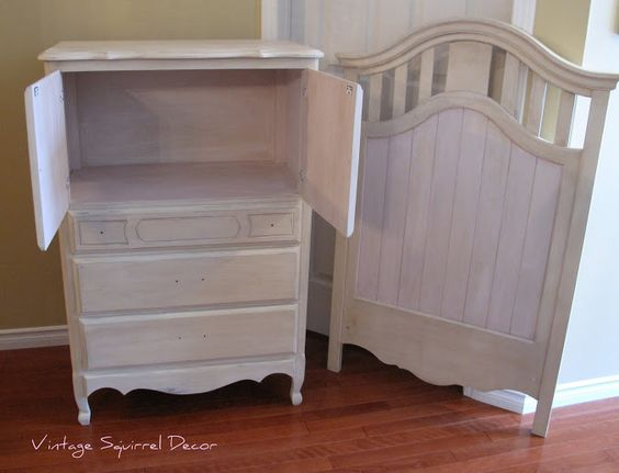 Crib and armoire painted in Old Ochre and Antoinette Chalk Paint.