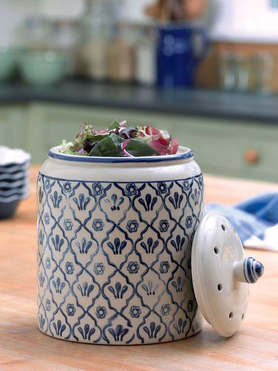 Garden Trading Komposteimer für die Küche Shutter Blue Ga   - komposteimer für die küche