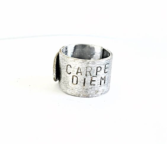 Carpe Diem Mantra Band, Inspirational Ring, Personalized, Custom or Blank Band, Wrap Style Ring, Customized Wrap Ring, Christmas Present by ChatterByHammer on Etsy