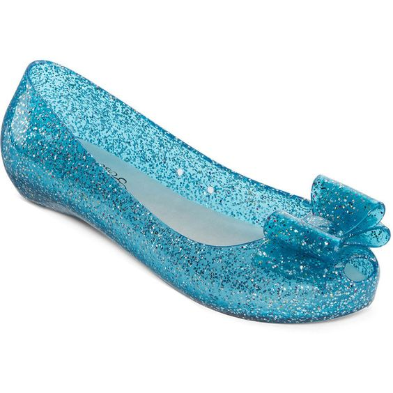 N.Y.L.A. Noelani Bow Glitter Jelly Slip-On Flats ($30) ❤ liked on Polyvore  featuring shoes, flats, flat pump shoes, glitter flats, flat shoes, retr…