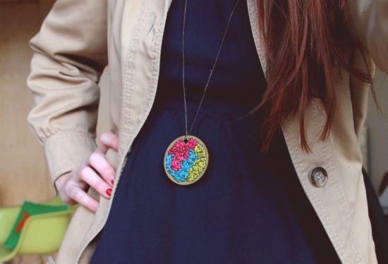 Stitched Pendant Necklace