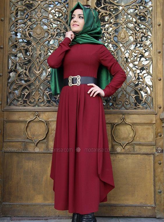 Épaule Robe drapée en - Rouge - Pinar Sems