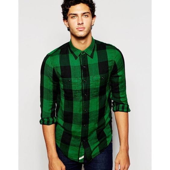 Denim & Supply by Ralph Lauren Check Shirt in Vintage Twill Green (£55) ❤ liked on Polyvore featuring men's fashion, men's clothing, men's shirts, men's casual shirts, green, mens green shirt, mens tall shirts, mens checked shirts, mens regular fit shirts and mens vintage shirts