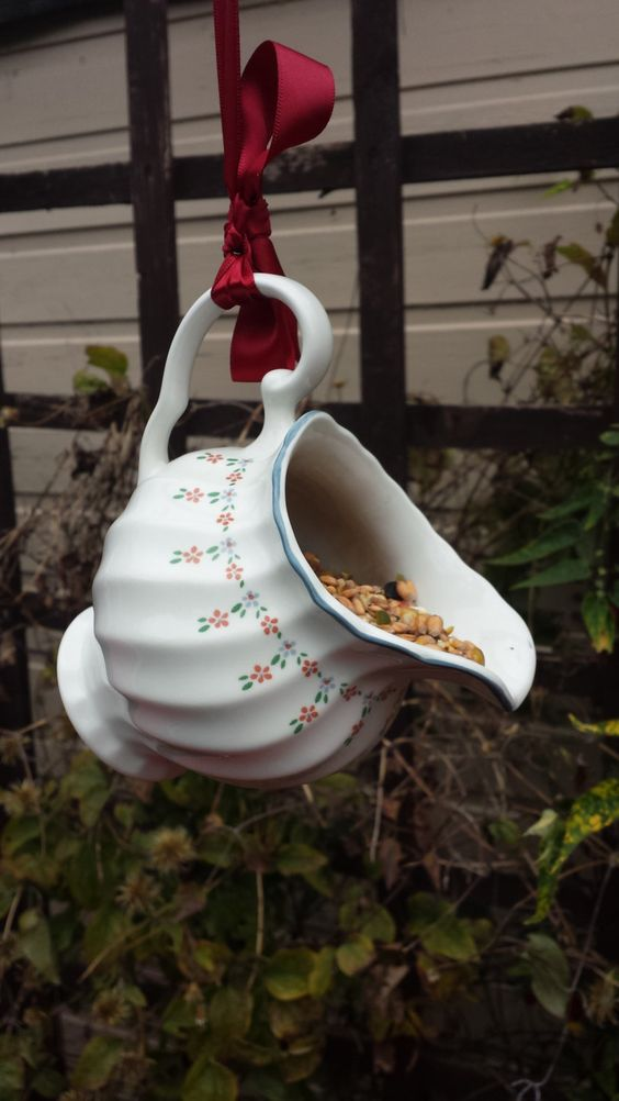 Quirky bird feeder vintage china jug up cycled garden for Quirky ornaments