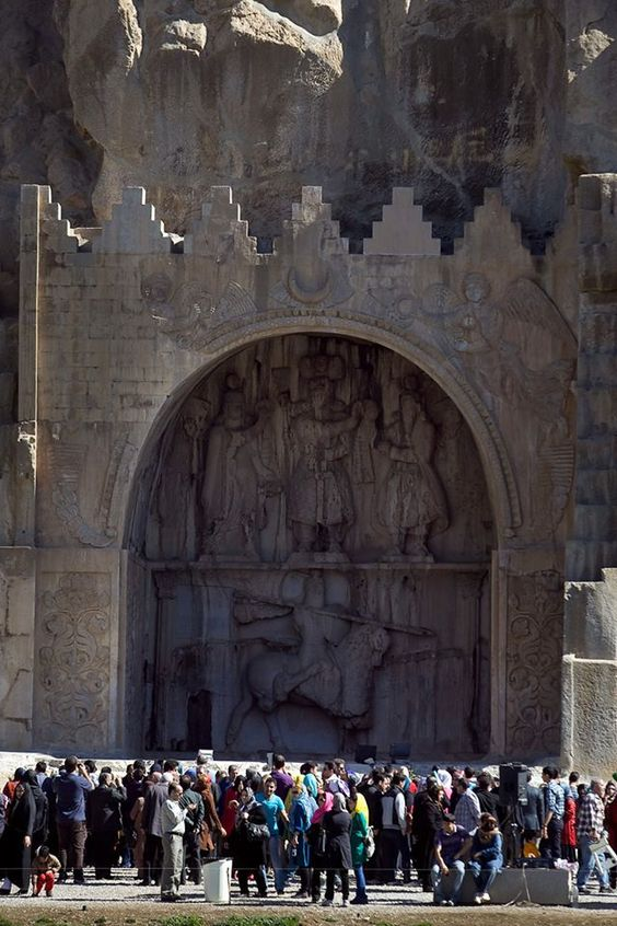 Taq wa San or Taq-e Bostan - iran تاق‌بستان  is a site with a series of large rock relief from the era of Sassanid Empire of Persia, the Iranian dynasty which ruled western Asia from 226 to 650 AD. The carvings, some of the finest and best-preserved examples of Persian sculpture under the Sassanids, include representations of the investitures of Ardashir II (379–383) and Shapur III (383–388). Like other Sassanid symbols, Taq-e Bostan and its relief patterns accentuate power, religious…