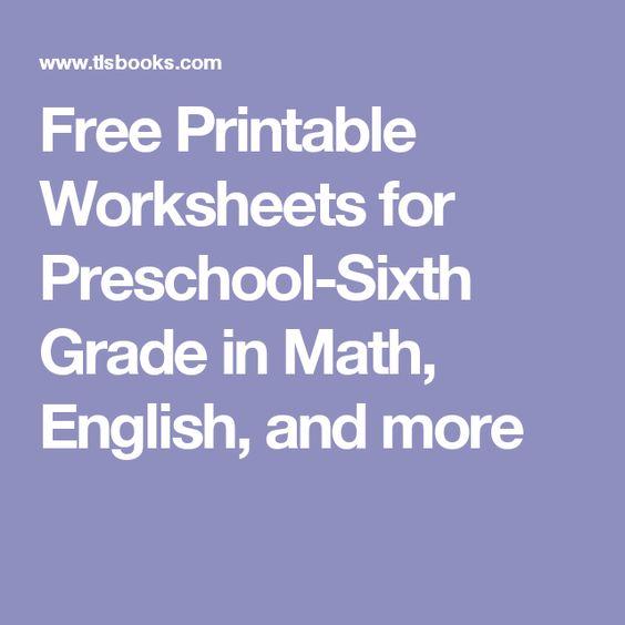 math worksheet : free printable worksheets for preschool sixth grade in math  : Math English Worksheets