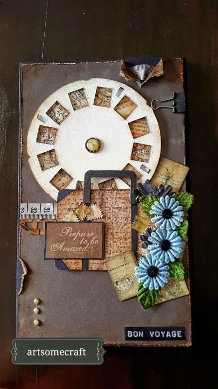 VIDEO TUTO A hybrid card mini album.. can be mailed in an envelope.How cool and the picture wheel spins .love the details and the little suitcase
