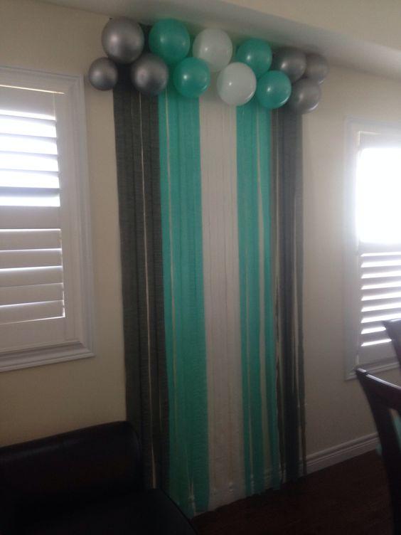 Tiffany blue back drop at baby shower.