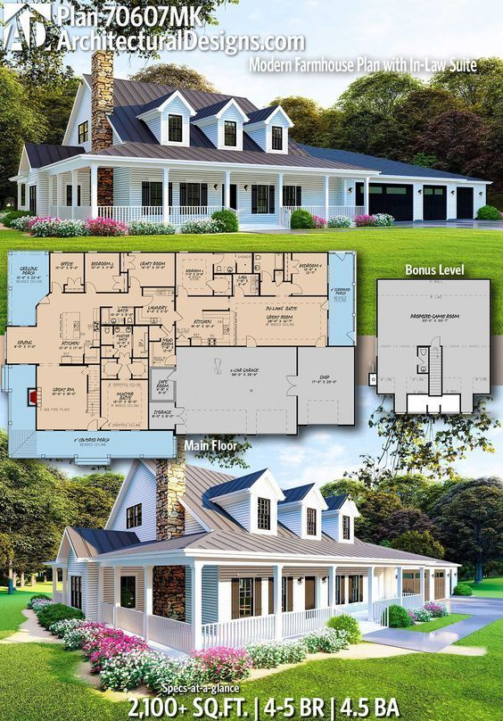 Plan 70607mk Modern Farmhouse Plan With In Law Suite In 2020 Modern Farmhouse Plans Farmhouse Plans House Plans Farmhouse