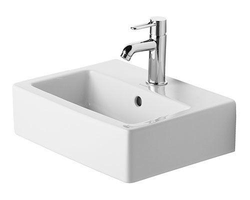 Vero Ceramic Rectangular Wall Mount Bathroom Sink With Overflow