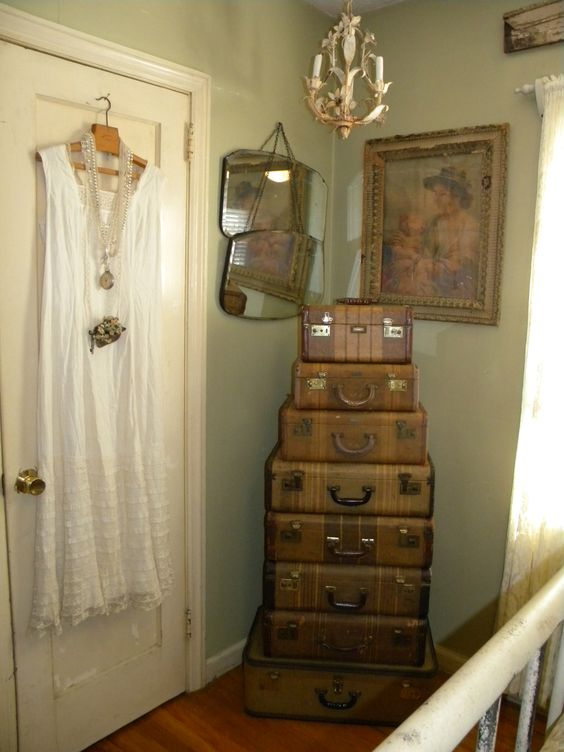 Antique Suitcases would make wonderful storage in a bedroom corner.