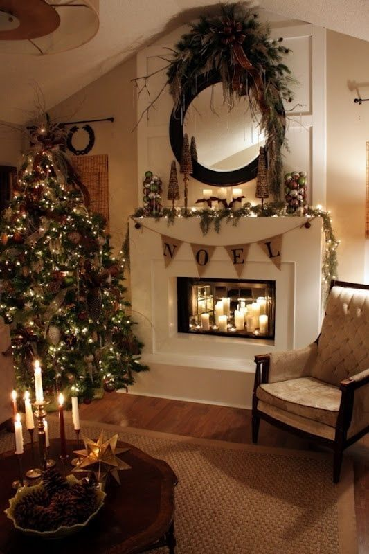 2015 BRING HOME THE HOLIDAYS #Nabisco Christmas fireplace lit by candles, I want a mirror like that above our fireplace: