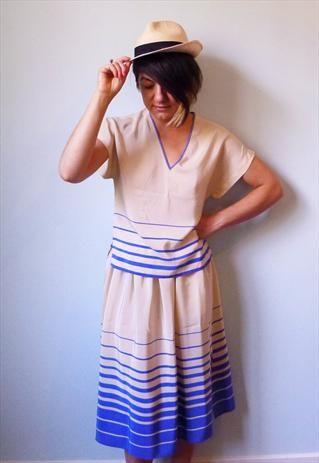 1980 cream blue nautical striped silk skirt & top S