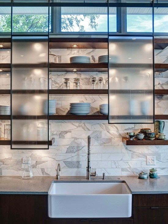 Best Contemporary Kitchens Floating Shelves And Sliding Doors 400 x 300
