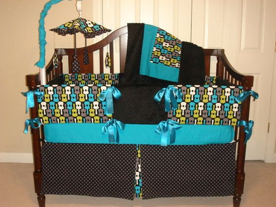 Custom crib bedding set groovy guitars reserved for for Guitar bedding for boys