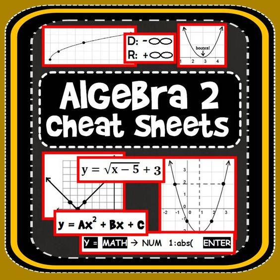 "To celebrate going back to school, here is a [free] set of Algebra 2 cheat sheets that have helped my students navigate through this tricky course. You can download them from TpT or through the ""Freebies!"" tab on my Facebook page."