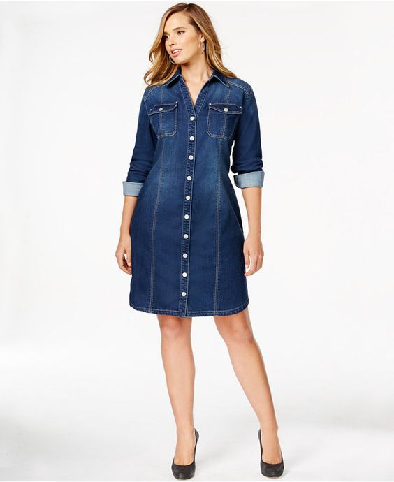 Plus Size Fitted Denim Shirtdress | Plus Size Fashion | Pinterest