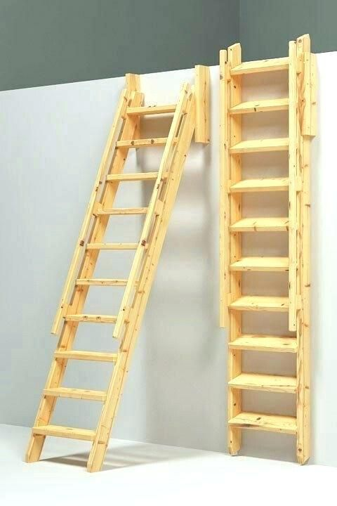 Attic Stairs Parts Attic Folding Stair Ladder Access To Loft Pull Out When Using Fold Flat When Not Attic Attic Foldin Tiny House Stairs Cabin Loft Loft Ladder