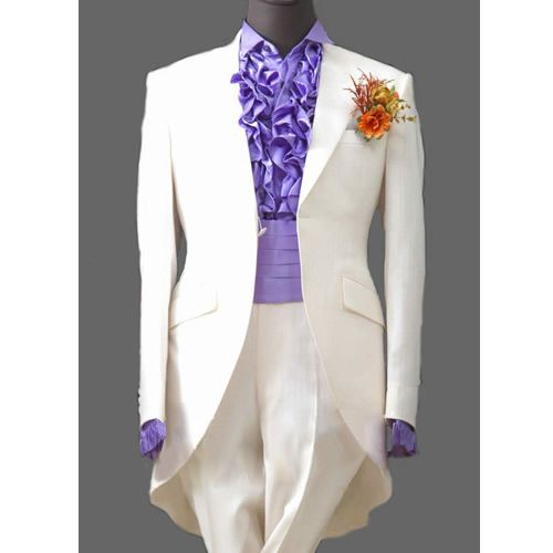 Mens 3 Piece White Victorian Edwardian Dress Tail Suits Tuxedo