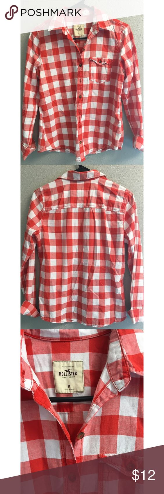 Plaid Shirt Red plaid shirt - Never worn Hollister Tops Button Down Shirts