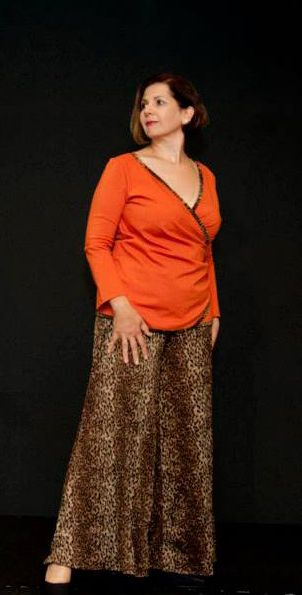 Cross-over orange top in Ponti trimmed with leopard print with Leopard print Palazzo Pants