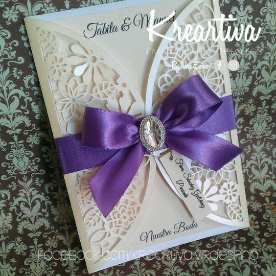 Elegante y delicada invitaci n para boda en colores beige - Decoraciones para bodas sencillas ...