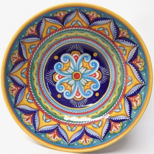 Deruta Antico Geometrico 12 Serving Bowl Hand Painted Colorful Italian Pottery Handcrafted In Italy Ceramics Decor Deruta Italian Pottery Ceramic Decor