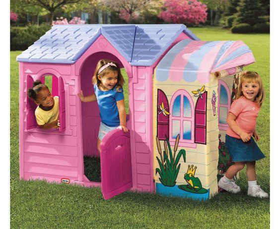 idea for outdoor plastic princess cottage - http://www.hellobabydirect.co.uk/products/a2032-little-tikes-cozy-cottage-kids-playhouse.html